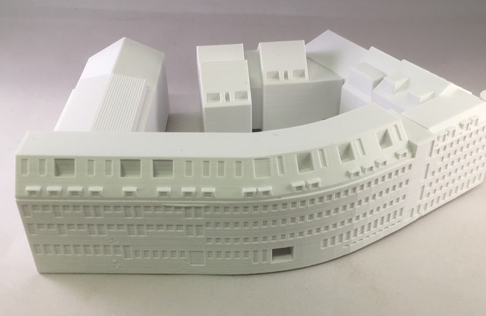 3D geprint gebouwcomplex voor een maquette