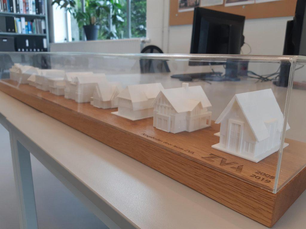 3D geprinte maquettes van meerdere projecten